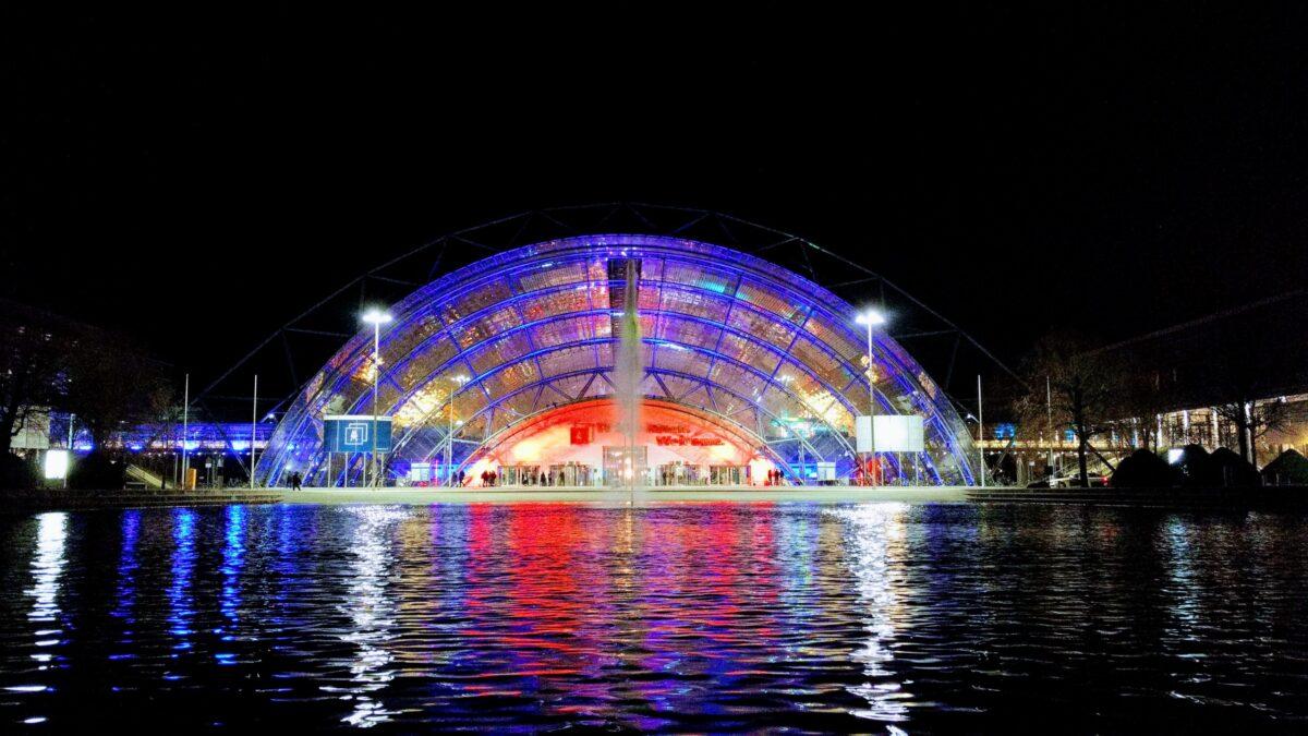 Illuminated trade fair centre for the34C3