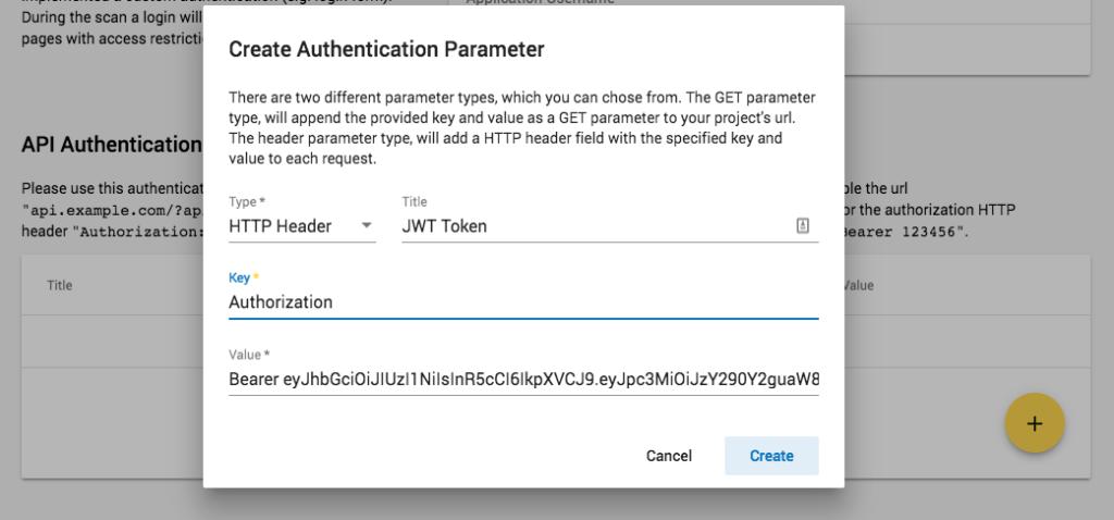 Crashtest Security Suite Creating Authentication Parameter