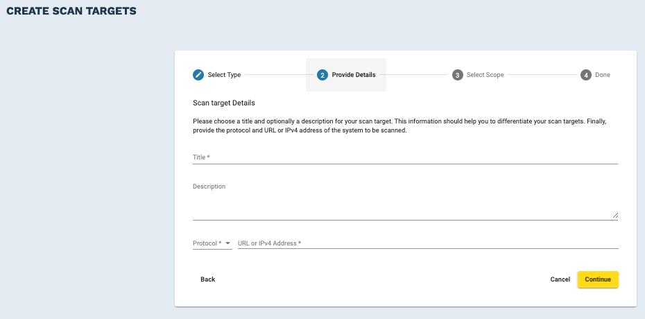 Crashtest Security Suite Define Scan Target Details