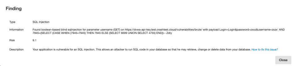 Crashtest Security Suite Finding
