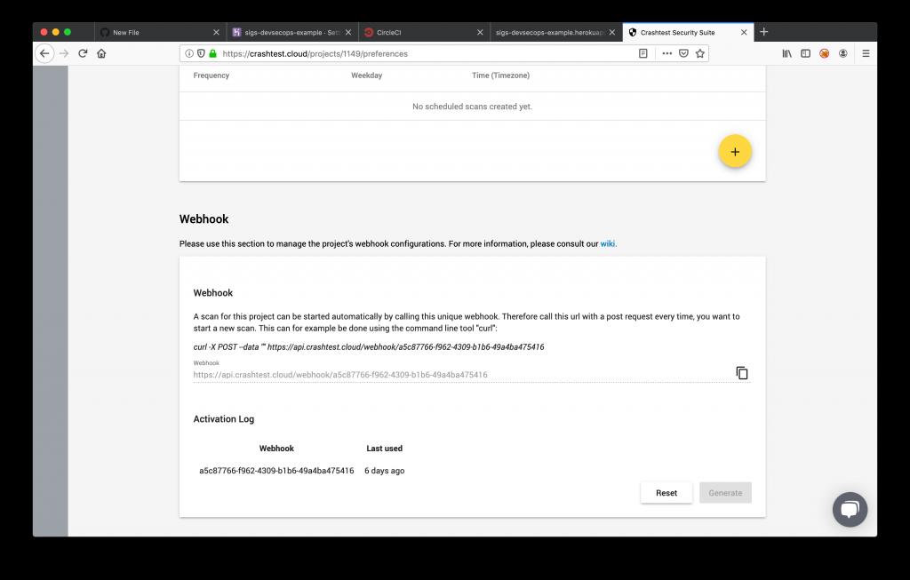 Crashtest Security Suite Generate a Webhook