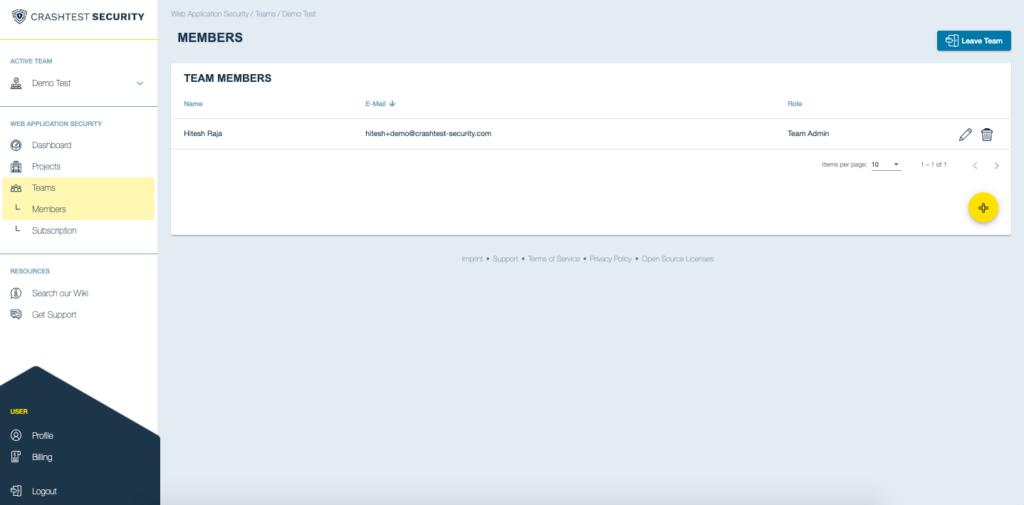 Crashtest Security Suite Team Page