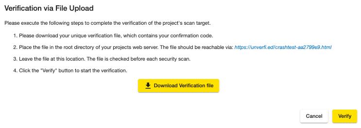 Crashtest Security Suite Verification via File Upload