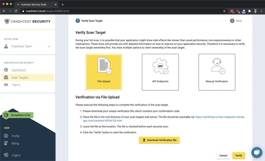 Crashtest Security Suite Verify Project