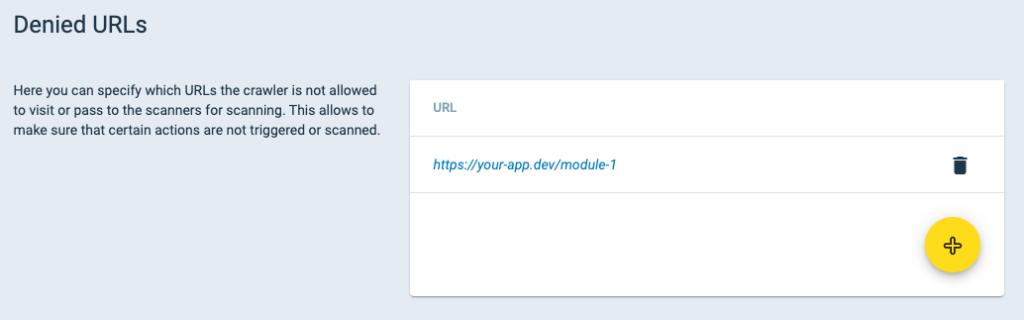 Denied URLs Setup Crashtest Security Suite