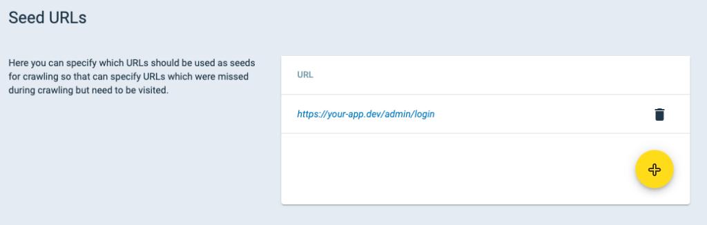 Seed URLs Setup Crashtest Security Suite